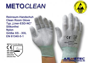 Metoclean Liner ESD-NC, dissipative glove, silicone free - www.asmetec-shop.de